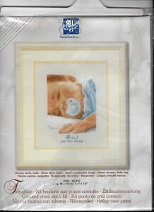 Vervaco Counted Cross Stitch Kit Sweet Dreams Baby Boy Sampler Sealed New