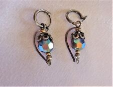 VINTAGE Art Deco Unique Purple Blue Iridescent Silver Dangle earrings beautiful