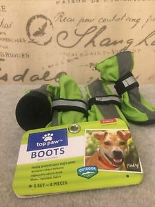 """TOP PAW Dog Boots """"Xs"""" GREEN REFLECTIVE With RUBBER SOLES . Pre Owned"""