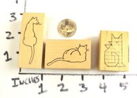Wooden RUBBER STAMP Block Lot Cottage Stamper Cats Kitten Cat