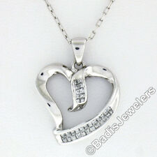 10k White Gold .25ctw Dual Princess Cut Diamond Channel Open Heart Pendant Chain
