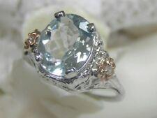 VINTAGE ESTATE 14KT AQUAMARINE & DIAMOND FILIGREE DECO COCKTAIL ENGAGEMENT RING