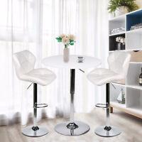 3 PCS Bar Stool Pub Table Set Swivel Kitchen Chair Adjustable Countertop Stools