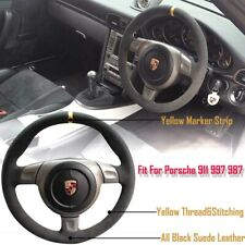 Black Suede Yellow Marker Steering Sew-on Wheel Wrap Cover For Porsche 997 2006