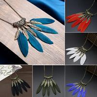 Retro Vintage Feather Leaf Tassel Plated Bronze Pendant Long Bib Chain Necklace