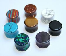 Stone Ear plugs in size 8mm 10mm, 12mm & 14mm, you choose, Black, purple sparkly