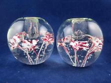Vintage Pair Art Glass Candle Holders w/Red & White Flowers & Controlled Bubbles