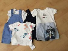 BNWT M&S BABY BOYS 3 SUMMER OUTFITS SHORTS, TOPS, DUNGAREES  AGE 6-9 MONTHS