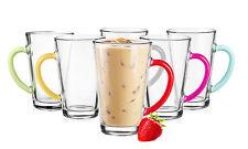 6 Latte Macchiato Gläser 300ml mit buntem Henkel  6 Löffeln Gratis Kaffeegläser