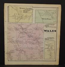 New York Erie County Map Wales Township  c1866  W11#94