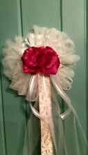 BURLAP 6 PC RED & IVORY  WEDDING PEW BOWS WITH BURLAP & LACE  RUSH ORDERS