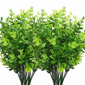 Outdoor Artificial Flowers Plants Shrubs Fake Bushes Plastic Leaves 8 Pack NEW
