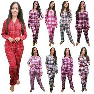 Ladies Pyjamas Soft Cotton Womens Brushed Flannel Check Tartan Long Sleeve Shirt
