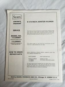 SEARS CRAFTSMAN 6 /1/8 INCH JOINTER-PLANER  OWNERS MANUAL  113.206801 & 206931