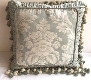 """Green Brocade down SQUARE 20""""x20"""" WITH 3"""" ball TASSELS fringe accent PILLOW"""