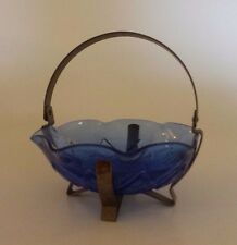 Vintage Blue Cobalt Glass Condiment Sugar Bowl CANDY DISH Metal Holder BASKET
