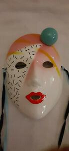 """Rare Vandor Pelzman Desighs 1985 Hand Decorated Mini Mask Wall Art 4.5"""" x 3.25"""""""