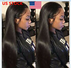 US 50cm Women Long Ponytails Straight Wigs Lace Front Black Hair Wig + Wig Cap