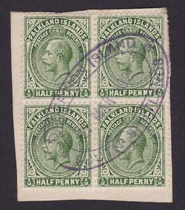 Falkland Islands. x4, 1/2d. Deception Island & South Shetlands postmark.