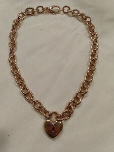 Bronze Milor Italy Heart Charm Necklace And Bracelet 2 In 1 (c329) rose tone