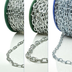 Stahlkette Kette Stahl Ketten Gliederkette Lang 1m - 150m verzinkt Metall Eisen