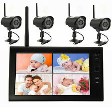 "Wireless 4CH Digital Quad DVR 7"" TFT-LCD Monitor Home System+4 Camera Outdoor D4"