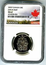 1952 2002 P CANADA 50 CENT HALF DOLLAR JUBILEE BUST NGC MS67 CANADA LABEL RARE !