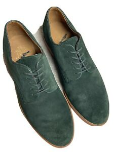 J. Crew Mens Green Forest Suede Leather Oxfords Lace Up Casual Shoes Size 8.5 M