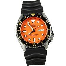 Seiko SKX011J1 Orange Dial Rubber Black  Strap Wrist Watch For Men