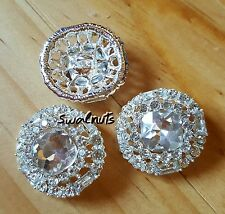 2pcs Round Crystal Rhinestone Diamante Shank Sew on Buttons 22mm - Silver plated