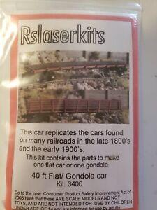 40 FOOT FLAT N Scale Laser Cut Wood Unpainted Rolling Stock Kit RSL3400