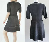 BCBGMAXAZRIA Dress Sz S Bettina Black V-Neckline A-Line Knit