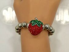Crystal Strawberry Metallic Bead Bracelet