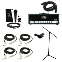 Peavey 6505 Electric Guitar Amplifier Tube 120W Amp Head Mic Stand Cables System