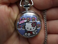 girl Hello Kitty mini necklace pendant pocket watch vintage style chain design 2
