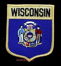 WISCONSIN STATE FLAG EMBROIDERED IRON ON SHIELD PATCH WI FORWARD CHEESE WOW