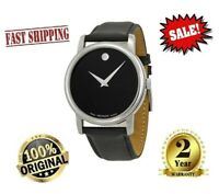 ✅Movado 2100002 Museum Black Leather Analog Quartz Men's Watch✅