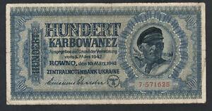 1942 German occupation of Ukraine. 100 karbowanez P-55