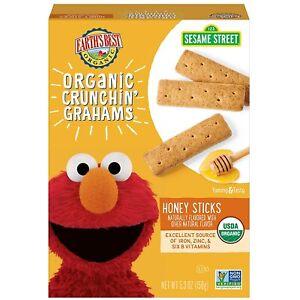 Earth's Best Organic Sesame Street Toddler Crunchin' Grahams, Honey Sticks