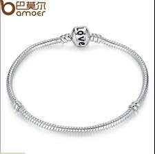 BAMOER 925 Silver Plated Snake Bracelet Chain Fit Women European Beads & Charms