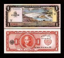 EL SALVADOR 1 COLON P125 1979 DAM COLON UNC-LATINO CURRENCY MONEY BILL BANK NOTE
