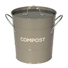 Gris foncé compost caddy avec bac intérieur-cuisine composteur de-métal seau