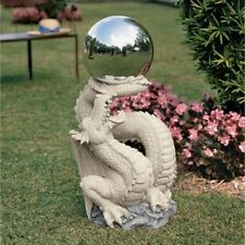 """30"""" DRAGON GOTHIC STATUE Sculpture Metal Gazing Ball Sphere Orb Globe Mythical"""