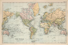 """Beautiful Vintage Old World Map 1891 CANVAS PRINT  24""""X18"""" Poster"""