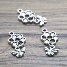 30pcs Bee and Honeycomb Charms silver tone Bee and Honeycomb pendants 13 x 20 mm