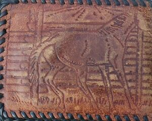 Vintage Leather Kids Cowboy & Horse Embossed bi-fold Billfold Wallet w/lacing