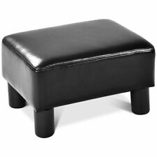 Small Ottoman  PU Leather Footrest Rectangular Seat Stool Black