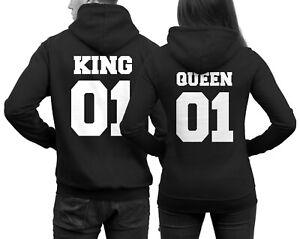 King Queen Hoodies im SET 2 Pullover Pulli Liebe Love Pärchen Couple Schwarz NEU