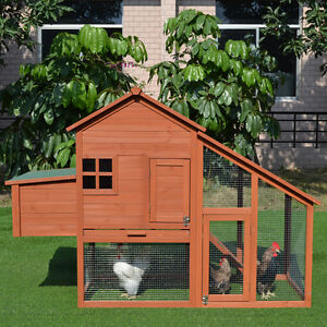 Chicken Coop 1.7M Hen house Chook House Hutch Run Cage with Pitch Roof T053