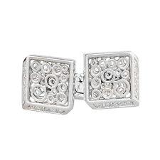 14K White Gold Diamond Cuff Links 0.23ct